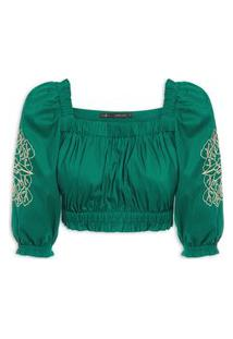 Blusa Feminina Cropped Tricoline Bordada - Verde