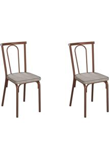 Conjunto Com 2 Cadeiras Albury Palha E Cobre