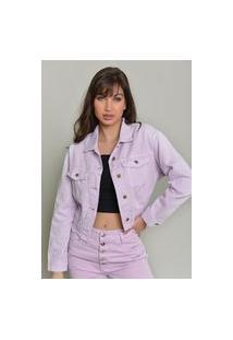 Jaqueta Jeans Dialogo Cropped Color Com Botões E Elástico