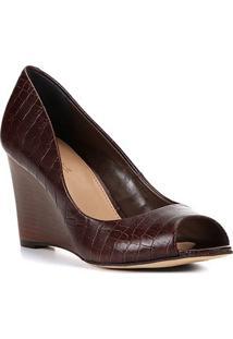 Peep Toe Couro Shoestock Anabela - Feminino-Marrom