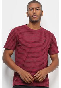 Camiseta Aleatory Listras Masculina - Masculino-Bordô