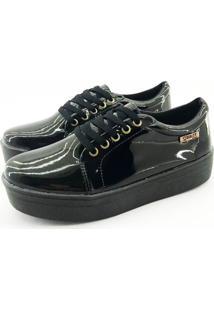 Tênis Flatform Quality Shoes Feminino 007 Verniz Preto Sola Preta 39