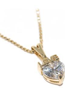 Corrente Feminina 45Cm C Pingente Coração Love Zircônia Banhado Ouro 18K