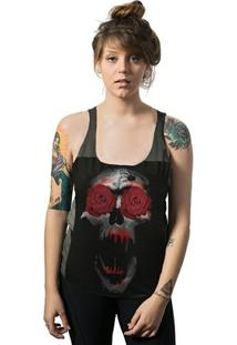 Regata Feminina Skull Lab Cavada Corte A Fio Skull Ghost Roses - Feminino