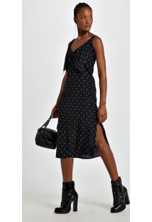 Vestido De Seda Midi Com Laço Frontal Estampado Est Pois Classic