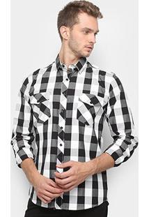 Camisa Xadrez Watkins & Krown Masculina - Masculino-Preto+Branco