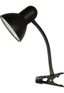 Luminária De Mesa Clip Metal E Plástico, Preto Única