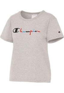 Camiseta Champion Script 3 Cores Gt92 Feminina - Feminino-Cinza