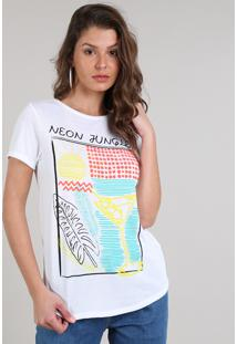 "Blusa Feminina ""Neon Jungle"" Manga Curta Decote Redondo Off White"