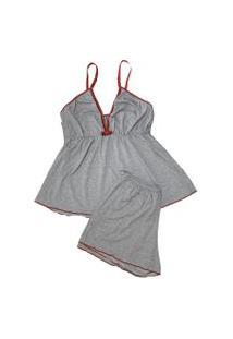 Baby Doll Plus Size Conforto Malha Mescla - Nbdal012-Cinza-Gg Cinza