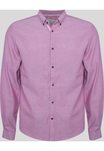 Camisa Masculina Comfort Manga Longa Rosa