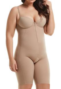 Body Com Pernas E Zíper Mondress (845Re) Plus Size