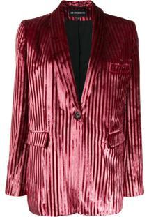 Ann Demeulemeester Blazer Listrado Com Textura - Rosa