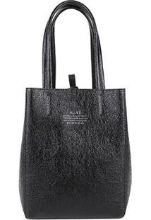 Bolsa Shopping Bag Dupla Face Ellus Feminina - Feminino-Preto