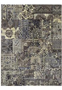 Tapete Patchwork D- Azul & Bege Escuro- 290X200Cm