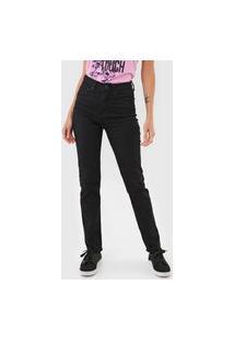 Calça Sarja Calvin Klein Jeans Slim Desfiada Preta