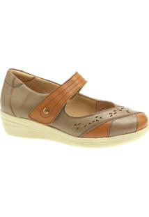Sapato Diabetico Doctor Shoes 7877 Caramelo/Bege - Kanui