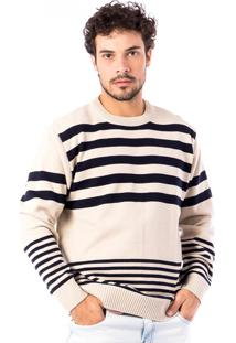 Blusa Tricot Carlan Double Stripes Decote Redondo