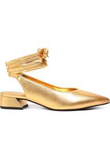 Scarpin Couro Loucos & Santos Chanel Bico Fino Amarração Feminino - Feminino-Dourado