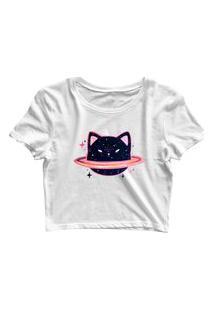 Blusa Blusinha Feminina Cropped Tshirt Camiseta Cat Universo Cinturão Branco