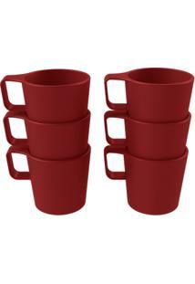 Conjunto 6 Canecas Empilháveis Casual Vermelho Bold Coza