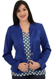Blazer Energia Fashion Tricotina Azul