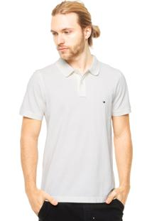 Camisa Polo Tommy Hilfiger Bordado Slim Fit Off-White