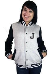 Jaqueta College Feminina Universitária Americana - Letra J - Feminino-Cinza