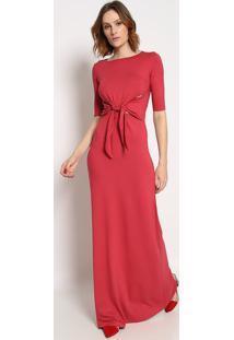 Vestido Longo Com Recortes Vazados & Amarraã§Ã£O - Rosa Essommer