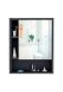 Armário De Banheiro Com Espelho Braga 1 Pt Preto