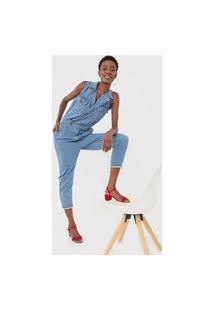 Macacão Jeans Sacada Skinny Utilitário Azul