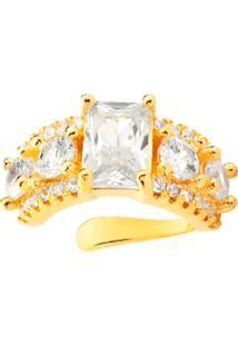 Brinco Piercing Multi Cravejado Com Cristal Retangular Banhado A Ouro 18K - Tricae