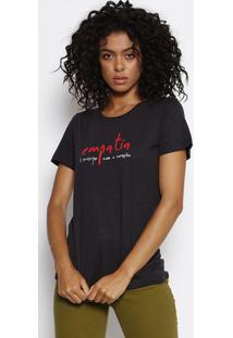 "Camiseta ""Empatia""- Preta & Vermelhaforum"