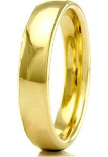 Aliança De Casamento Masculina Em Ouro 18K 3,5Mm Anatômica Wm Jóias - Masculino-Dourado