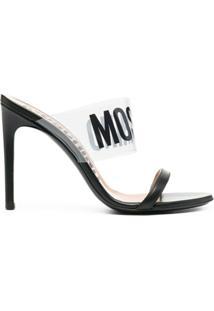 Moschino Sandália Com Logo E Salto 110Mm - Preto