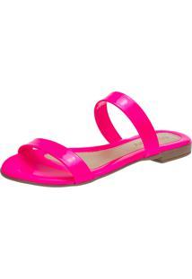 Sandália Feminina Rasteira Domidona Tira Fluorescente Rosa Neon