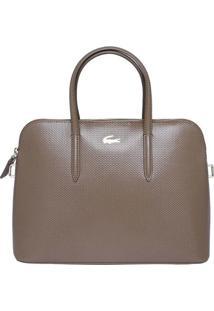 Bolsa Premium Em Couro - Marrom - 23,5X34X10Cmlacoste