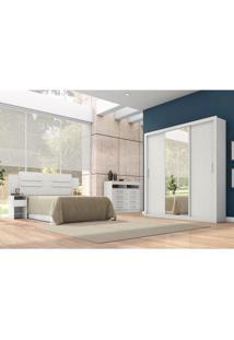 Quarto De Casal Residence Guarda-Roupa/Cabeceira/Cômoda Branco Têxtil - Demóbile