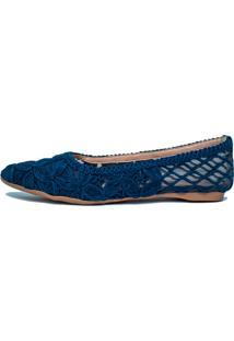 Sapatilha Mobene Bico Fino Em Crochê Azul-Marinho