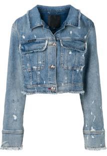 Philipp Plein Jaqueta Jeans Cropped - Azul