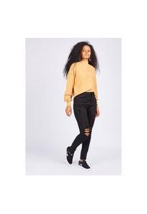Calça Jeans Skinny Preta Gang Feminina
