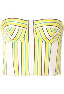 Alexis Blusa Cropped Summer Listrada - Amarelo
