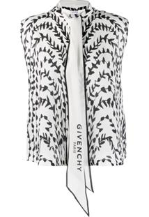 Givenchy Printed Pussy Bow Blouse - Branco