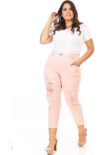 Calça Jeans Feminina Capri Destryed Cintura Alta Plus Size Confidencial Extra Rosê
