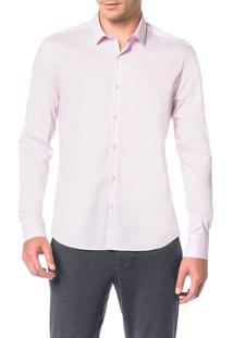 Camisa Slim Calvin Klein Cannes Toque Suave Rosa Claro - 6