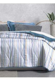Edredom Solteiro Altenburg New Confort Azul/Branco