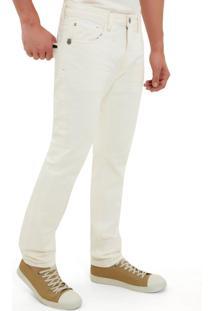 Calça John John Slim Mexico 3D Sarja Off White Masculina (Off White, 44)