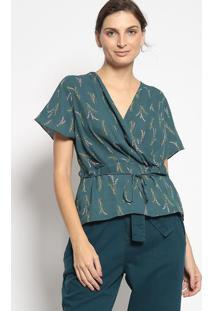 Blusa Transpasse Floral - Verde Escuro & Rosa Claroenna