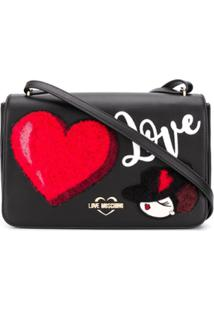 Love Moschino Bolsa Carteiro Com Patch De Logo - Preto
