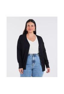 Cardigan Básico Liso Curve & Plus Size | Ashua Curve E Plus Size | Anthracite | G